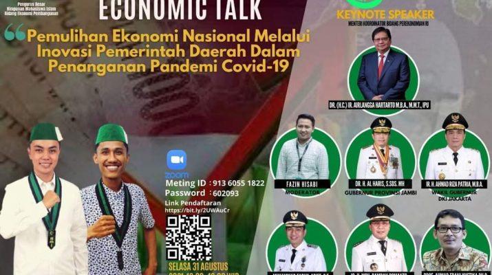 Bupati Batanghari Muhammad Fadhil Arief, menjadi pembicara ekonomi dalam kegiatan webiner nasional, yang di laksanakan oleh Pengurus Besar Himpunan Mahasiswa Islam (PB HMI).