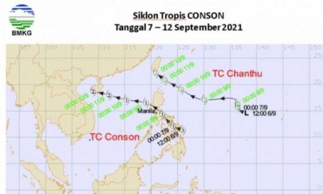 Badan Meteorologi, Klimatologi dan Geofisika (BMKG) memprediksi Siklon Tropis Chantu dan Conson, akan memberi dampak tidak langsung terhadap cuaca Indonesia.